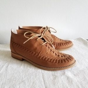 BP Tan Leather Hurache ankle boots Sz 8 like new!